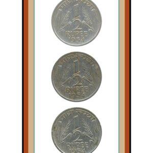 1954 1/2 Half Rupee Corn Sheaf Nickel Coin Calcutta Mint - UGET - 3 Coins