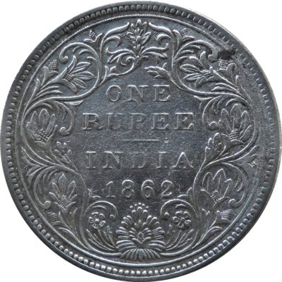 1862 1 One Rupee Victoria Queen Calcutta Mint