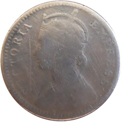 1882 1/4 Quarter Rupee Queen Victoria Empress RARE COIN