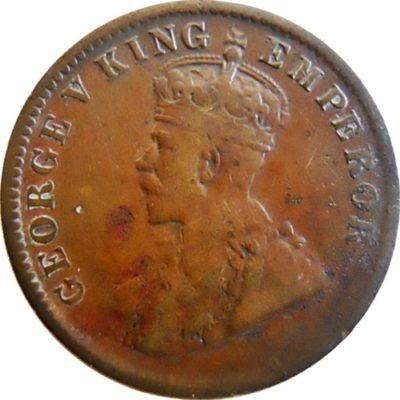 1911 1/4 One Quarter Anna George V King Emperor Calcutta Mint