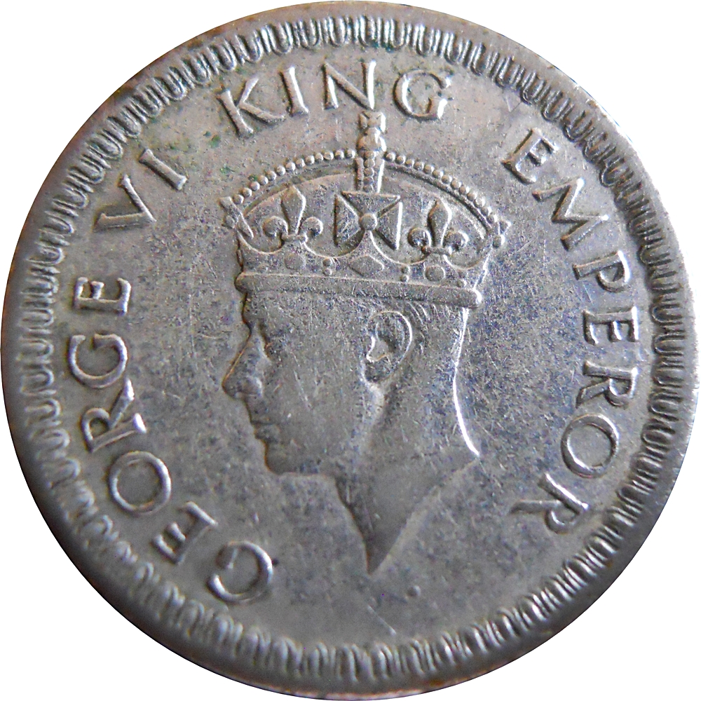 1942 1/4 Quarter Rupee George VI King Emperor Calcutta Mint
