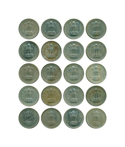 1975 1976 1977 1978 1979 1 One Rupee Republic India Copper-Nickel Coin - Bombay Mint - UGET - 20 Coins