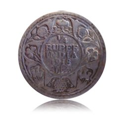 1918 1/4 Quarter Rupee George V King Emperor Calcutta Mint - RARE