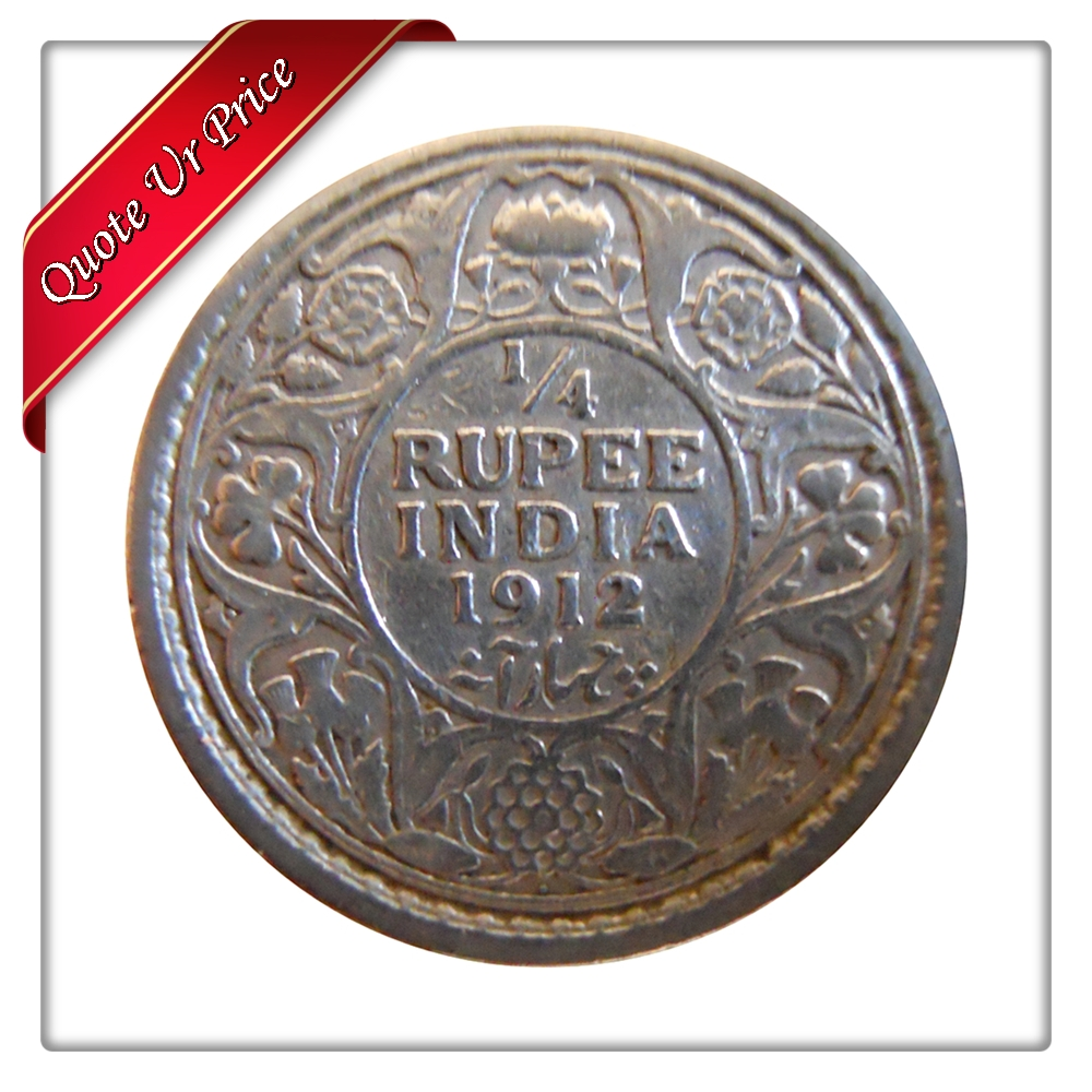 1912 1/4 Quarter Rupee George V King Emperor Bombay Mint