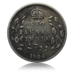 1904 2 Two Annas Edward VII King Emperor Calcutta Mint - RARE COIN