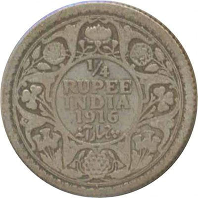 1916 1/4 Quarter Rupee George V King Emperor Calcutta Mint - RARE