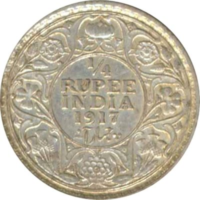 1917 1/4 Quarter Rupee George V King Emperor Calcutta Mint
