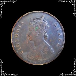 1876 1/2 Half Anna OLD COIN Queen Victoria Calcutta Mint