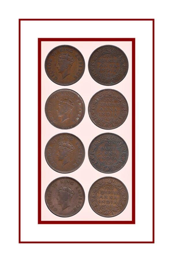 One Quarter Anna 1938 George VI & Emperor Calcutta & Bombay Mint