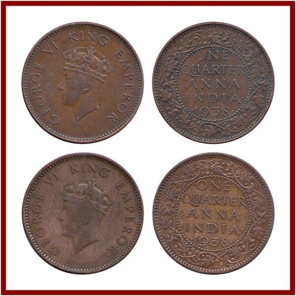1938 1/4 One Quarter Anna George VI King & Emperor Calcutta & Bombay Mint