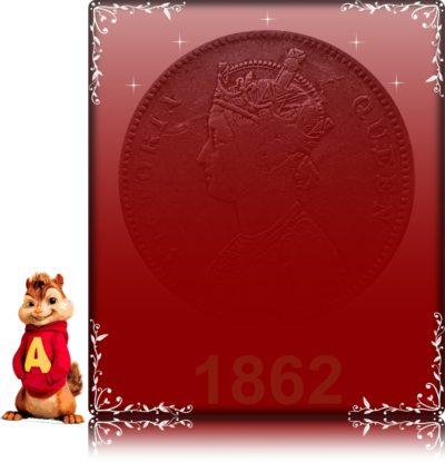 1862 1 One Rupee Victoria Queen Calcutta Mint