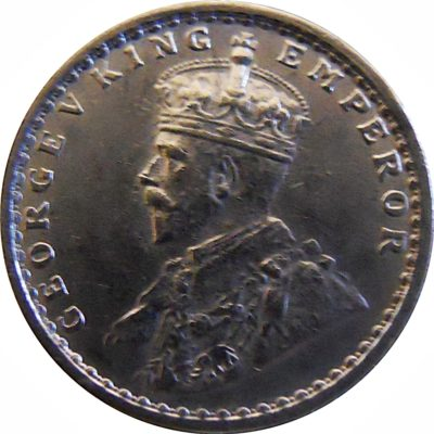 1913 2 Two Annas King George V Bombay Mint - RARE