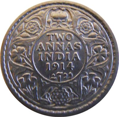 1914 2 Two Annas George V King Emperor - Calcutta Mint - RARE