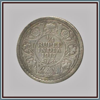 1917 1/4 Quarter Rupee George V King Emperor - Calcutta Mint - RARE