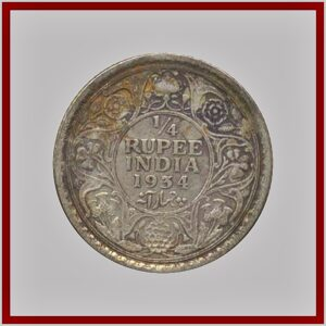 1934 1/4 Quarter Rupee George V King Emperor - Calcutta Mint - RARE