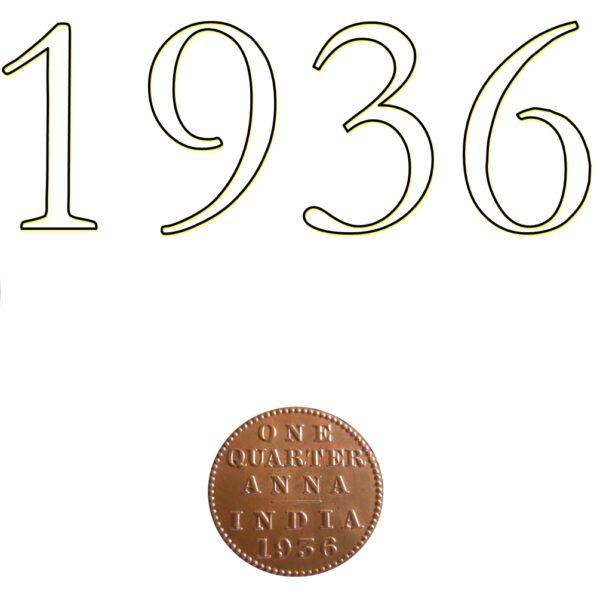 1936 1/4 One Quarter Anna George V King Emperor Calcutta Mint - Best Buy - RARE COIN