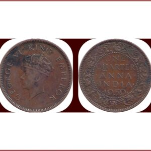 1939 One Quarter Anna George VI Emperor Calcutta Mint
