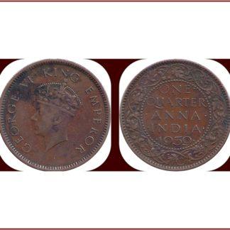 1939 One Quarter Anna George VI Emperor Calcutta Mint