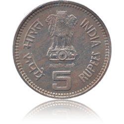1989 5 Rupee Coin Jawahar Lal Nehru Centenary Coin Bombay Mint