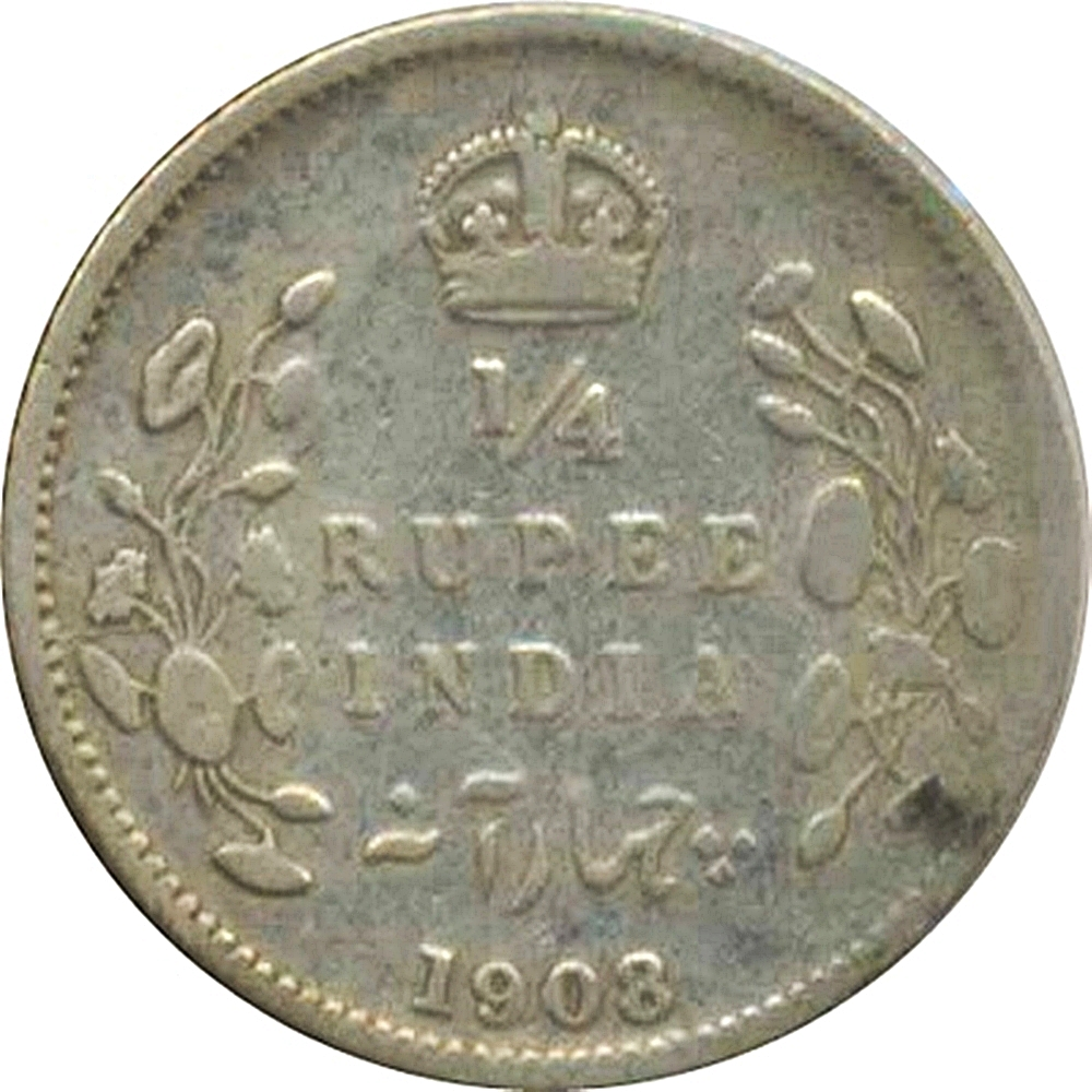 1908 1 4 Quarter Rupee Edward Vii King Emperor Calcutta