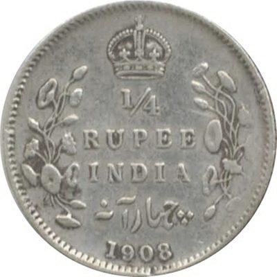 1908 1/4 Quarter Rupee Edward VII King Emperor - Calcutta Mint - RARE