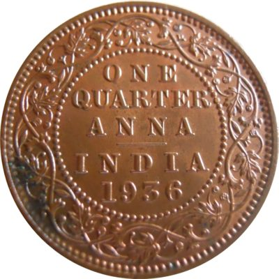 1936 1/4 One Quarter Anna George V King Emperor Calcutta Mint - Best Buy - RARE COIN