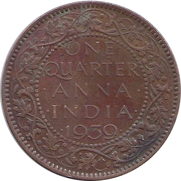 1939 1 Quarter Anna George VI King Emperor Calcutta Mint - Best Buy