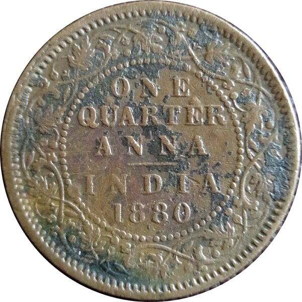 1880 1/4 One Quarter Anna Queen Victoria Empress Calcutta Mint - RARE COIN