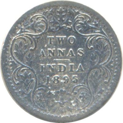 1895 2 Two Annas Queen Victoria Empress - Calcutta Mint -RARE