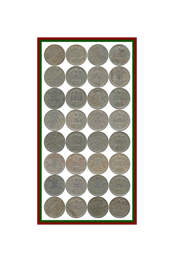 1975 1976 1 One Rupee Republic India Coin Calcutta Mint - UGET- 16 Coins