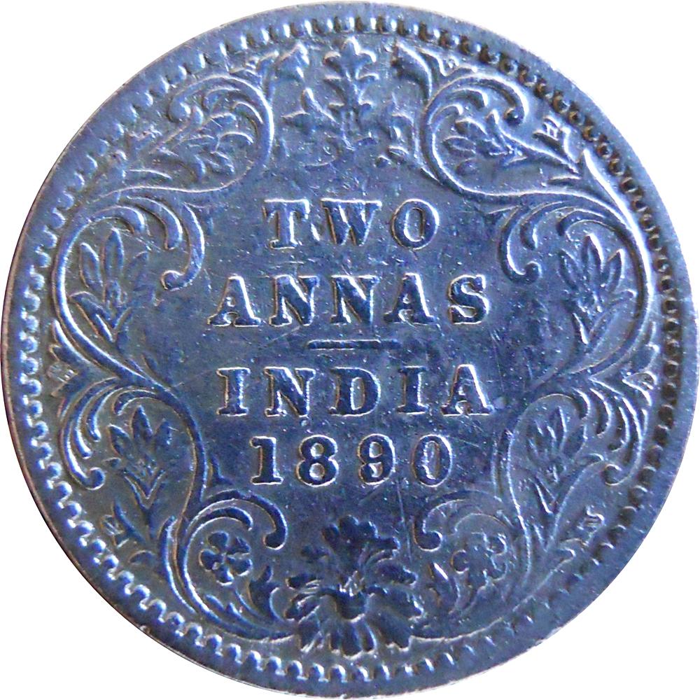 1890 Victoria Empress 2 Annas Silver Coin Bombay Mint - Rare