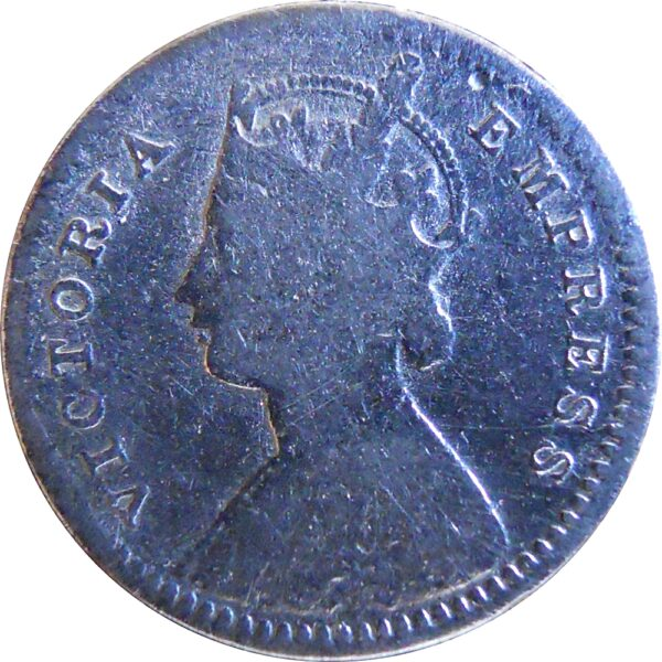 1891 2 Annas Queen Victoria Empress Silver Coin Calcutta Mint - Worth Buy