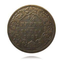 1897 Quarter Rupee Silver Coin Queen Victoria Empress Bombay Mint