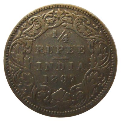 1/4 RUPEE COIN VIC EMPRESS Yr:1897 BOMBAY MINT SILVER X RARE