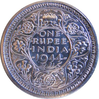 1944 1 Rupee Silver Coin King George VI Emperor Bombay Mint