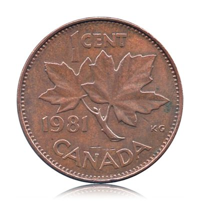 1981 1 one Cent Canada Queen Elizabeth II Copper currency coin