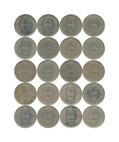 1985 50 Paise Indira Gandhi Commemorative Copper-Nickel Coin - Hyderabad Mint - UGET - 20 Coins - ON SHEET ON COVER