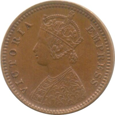 1887 1/12 One Twelve Anna Queen Victoria Empress Calcutta Mint - RARE COIN