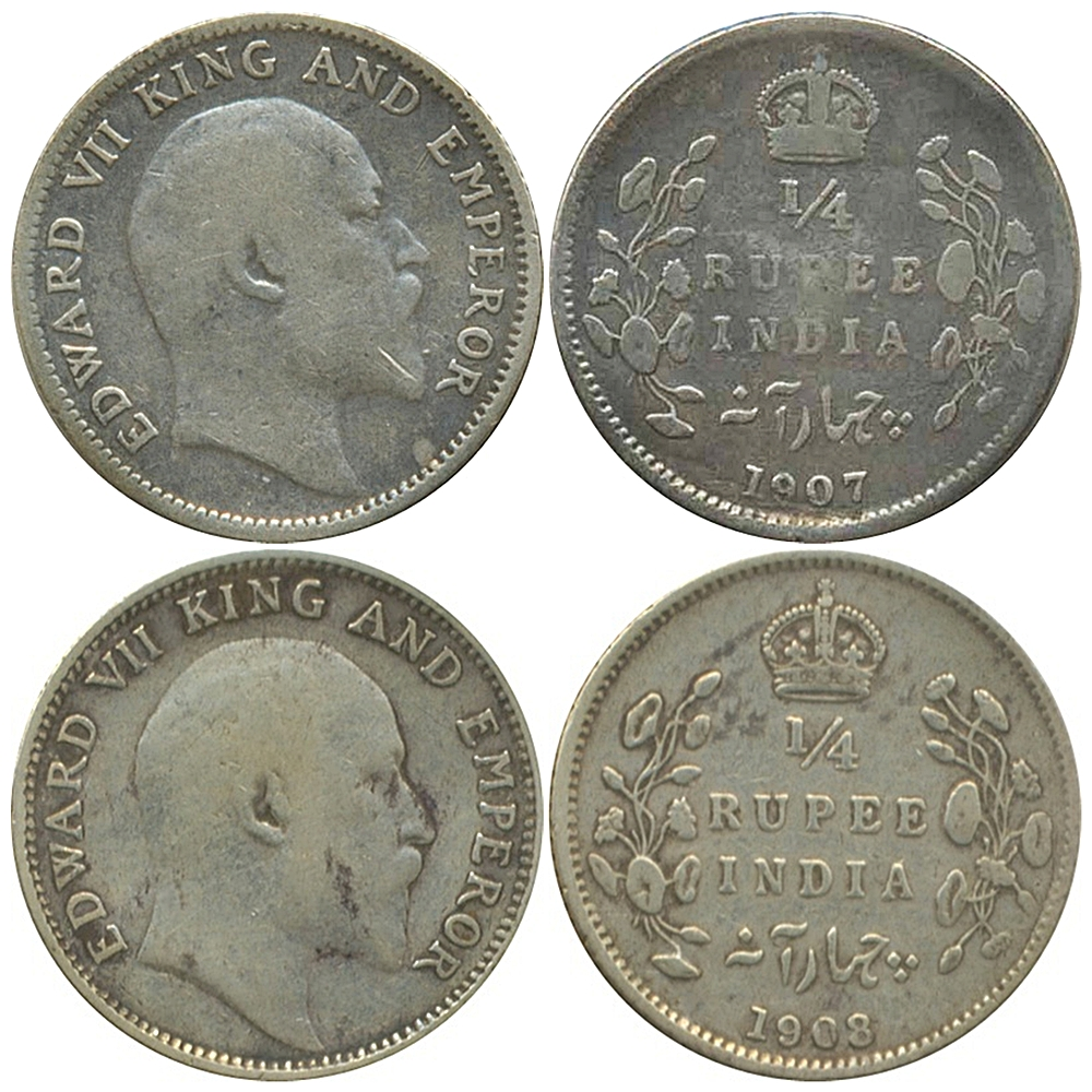 1907 1908 1/4 Quarter Rupee King Edward VII Calcutta Mint