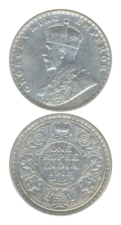 1912 1 One Rupee George V King Emperor Bombay Mint