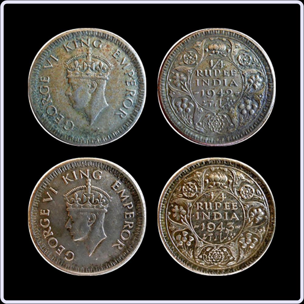 1942 1943 1/4 Quarter Rupee King George VI Calcutta Mint