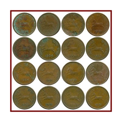 1950 1951 1952 1953 1954 One Pice Republic India Coin - Calcutta & Bombay Mint - UGET - 16 Coins