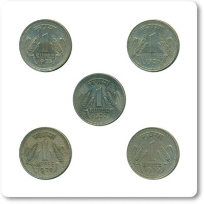 1975 1976 1977 1978 1979 1 One Rupee Republic India Bombay Mint