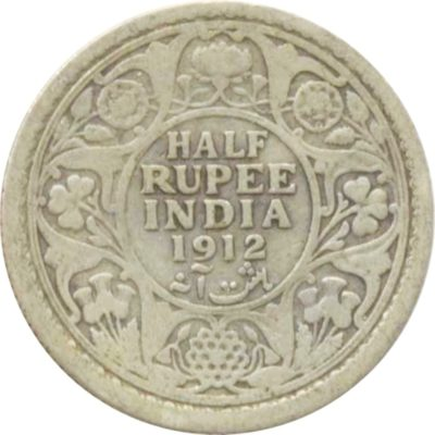 1912 1/2 Half Rupee Silver Coin King George V Calcutta Mint Rare Coin - Best Buy