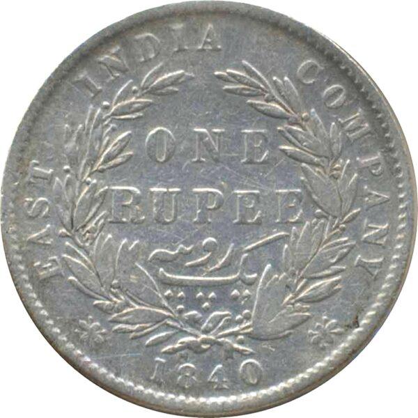 EAST INDIA 1840 1 RUPEE QUEEN DL 28 BERRIES (13+15) W.W. BELOW BUST