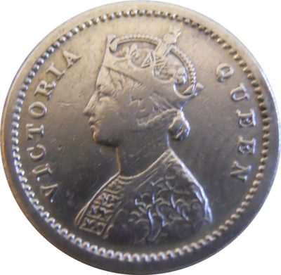 1862 2 Two Annas Silver Coin Queen Victoria Bombay Mint - Worth Buy - RARE COIN