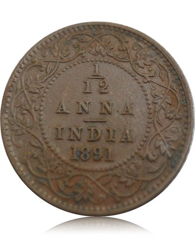 1891 1/12 One Twelve Anna British India Queen Victoria Empress Calcutta Mint - Best Buy