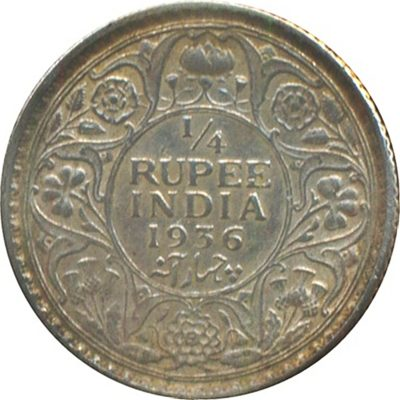 1936 1/4 Quarter Rupee Silver Coin King George V Calcutta Mint - Best Buy - RARE Coin