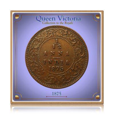 1875 1/12 Anna British India Queen Victoria - Rare