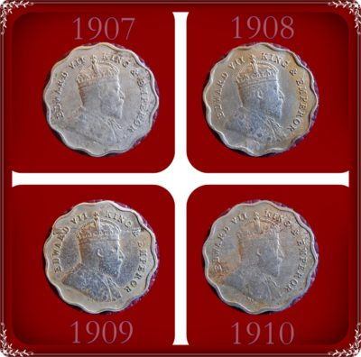 1907 1908 1909 1910 1 One Anna King Edward VII & Emperor - Worth Buy - UGET - 4 Coins